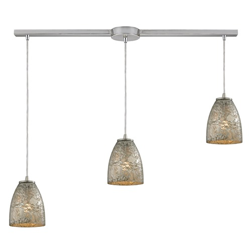 Elk Lighting Elk Lighting Fissure Satin Nickel Multi-Light Pendant with Bowl / Dome Shade 10465/3L-SVF