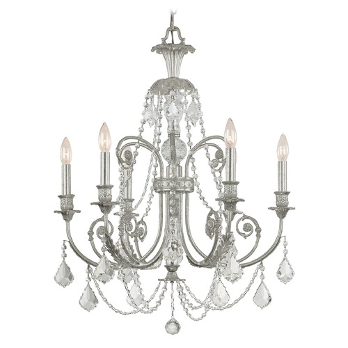 Crystorama Lighting Crystorama Lighting Regis Olde Silver Crystal Chandelier 5116-OS-CL-I
