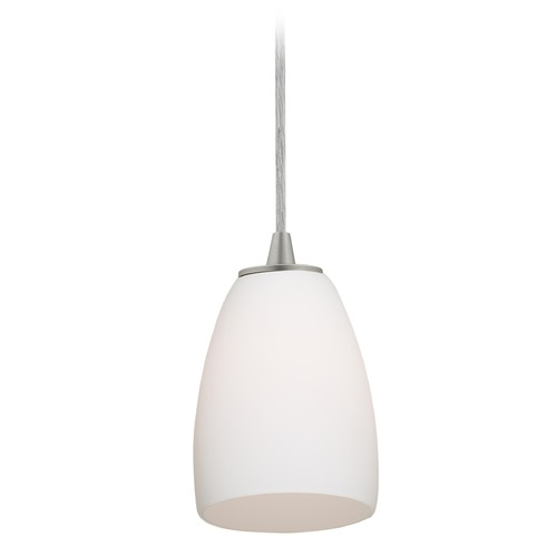 Access Lighting Access Lighting Sherry Brushed Steel Mini-Pendant Light with Bowl / Dome Shade 28069-3C-BS/OPL
