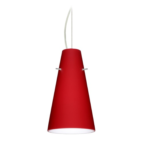 Besa Lighting Besa Lighting Cierro Satin Nickel LED Mini-Pendant Light with Conical Shade 1KX-4124RM-LED-SN