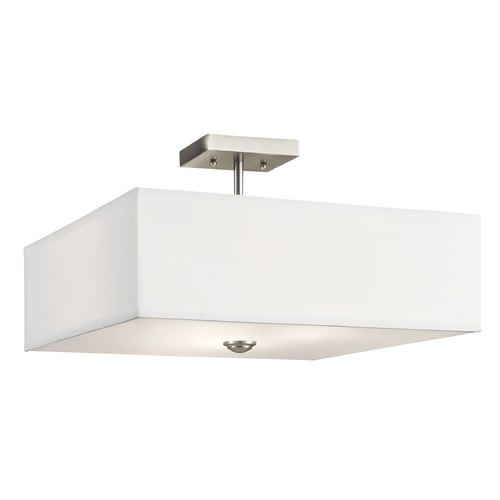 Kichler Lighting Modern Semi-Flushmount Light Brushed Nickel Shailene by Kichler Lighting 43693NI