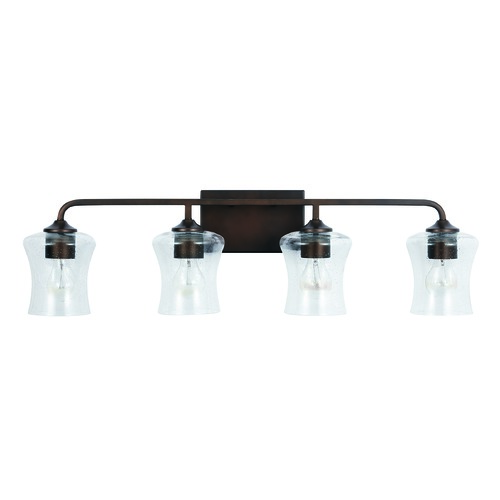 HomePlace by Capital Lighting HomePlace Reeves Bronze 4-Light Bathroom Light with Clear Seeded Glass 139241BZ-499