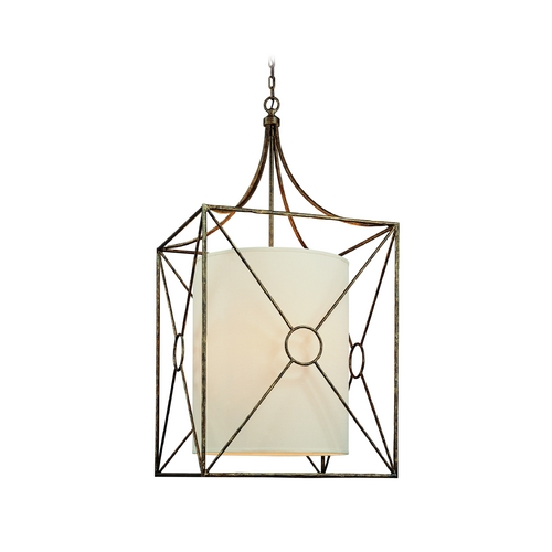 Troy Lighting Pendant Light with Beige / Cream Shades in Bronze Leaf Finish F3016BLF