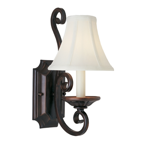 Maxim Lighting Sconce Wall Light with White Shade in Oil Rubbed Bronze Finish 12217OI/SHD123