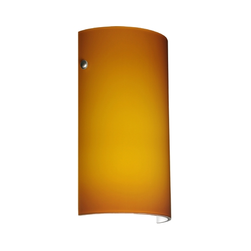 Besa Lighting Modern Sconce Wall Light with Amber Glass in Satin Nickel Finish 704280-SN