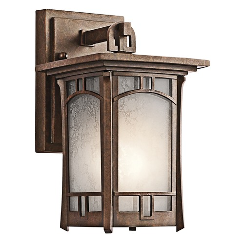 Kichler Lighting Kichler Outdoor Wall Light with White Mica Shade in Aged Bronze Finish 49449AGZ