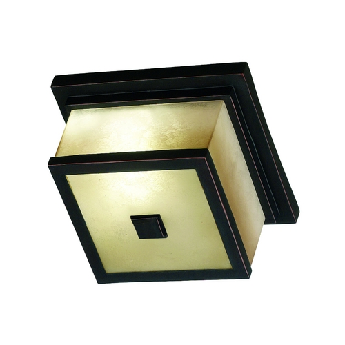 Kenroy Home Lighting Modern Close To Ceiling Light with Amber Glass in Oil Rubbed Bronze Finish 70215ORB