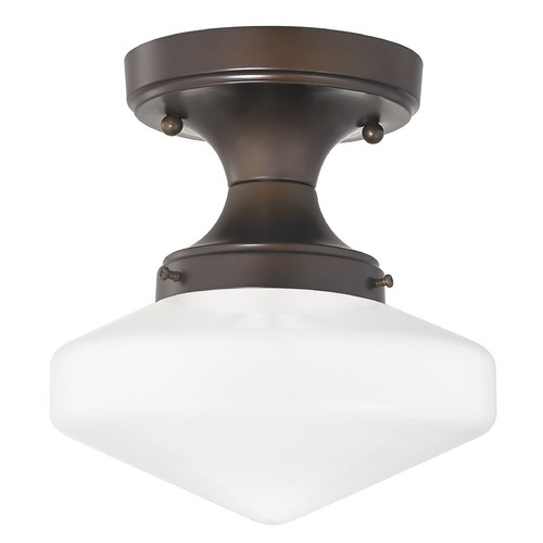 Design Classics Lighting 8-Inch Wide Schoolhouse Ceiling Light in Bronze Finish FDS-220 / GE8