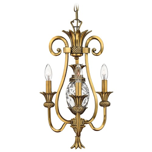 Hinkley Lighting Mini-Chandelier with Clear Glass in Burnished Brass Finish 4103BB