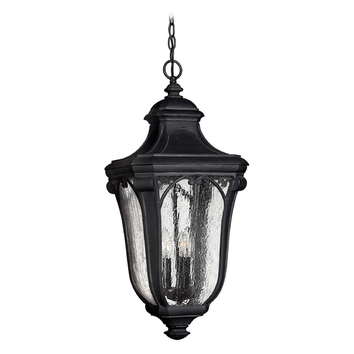 Hinkley Lighting Seeded Glass Outdoor Hanging Light Black Hinkley Lighting 1312MB-GU24