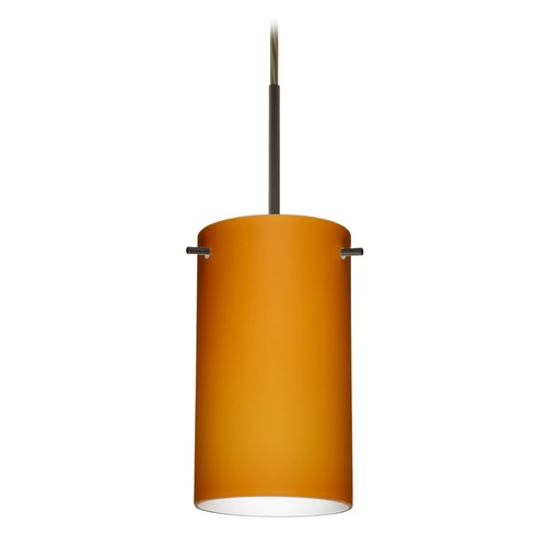 Besa Lighting Besa Lighting Stilo Bronze LED Mini-Pendant Light with Cylindrical Shade 1BT-440480-LED-BR