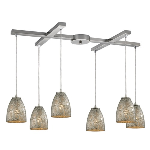 Elk Lighting Elk Lighting Fissure Satin Nickel Multi-Light Pendant with Bowl / Dome Shade 10465/6SVF