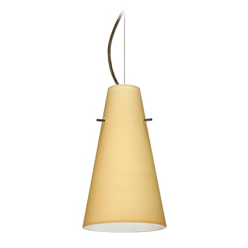 Besa Lighting Besa Lighting Cierro Bronze LED Mini-Pendant Light with Conical Shade 1KX-4124VM-LED-BR