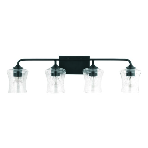 HomePlace by Capital Lighting HomePlace Reeves Matte Black 4-Light Bathroom Light with Clear Seeded Glass 139241MB-499
