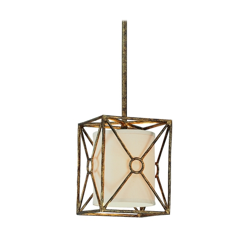 Troy Lighting Mini-Pendant Light with Beige / Cream Shade in Bronze Leaf Finish F3017BLF