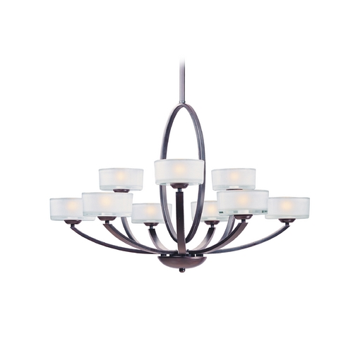 Maxim Lighting Modern Chandelier with White Glass in Oil Rubbed Bronze Finish 19046FTOI