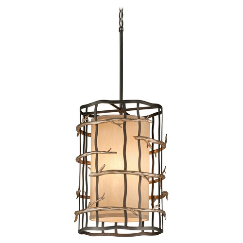 Troy Lighting Pendant Light with Beige / Cream Shades in Graphite and Silver Finish F2883