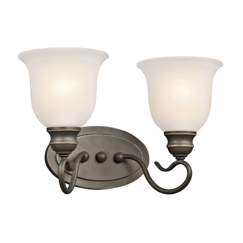 Kichler Lighting Kichler Bathroom Light with White Glass in Olde Bronze Finish 45902OZ
