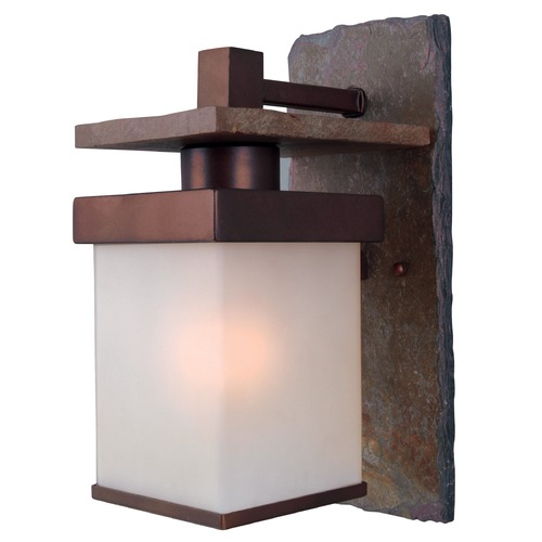 Kenroy Home Lighting Outdoor Wall Light with White Glass in Natural Slate with Copper Finish 70281COP