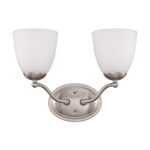 Nuvo Lighting Bathroom Light with White Glass in Brushed Nickel Finish 60/5032