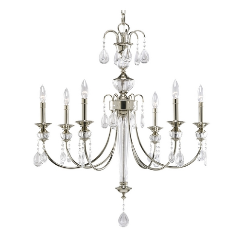 Progress Lighting Progress Crystal Chandelier with Clear Glass in Polished Nickel Finish P4209-104