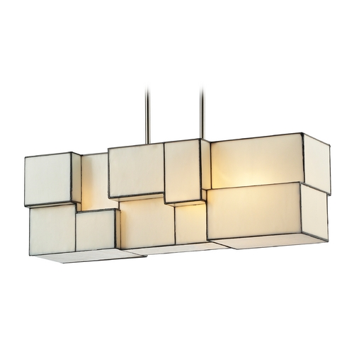 Elk Lighting Modern Island Light with Beige / Cream Glass in Brushed Nickel Finish 72063-4