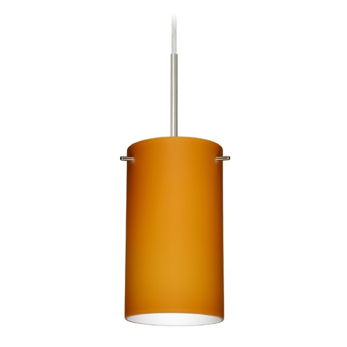 Besa Lighting Besa Lighting Stilo Satin Nickel LED Mini-Pendant Light with Cylindrical Shade 1BT-440480-LED-SN