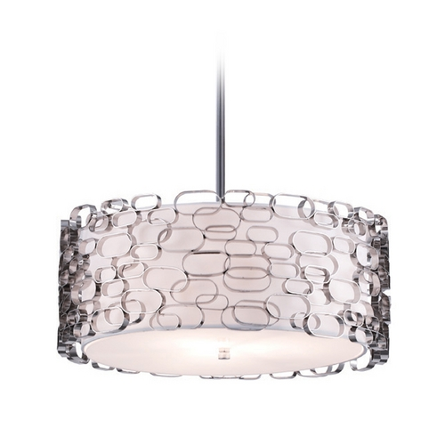 Avenue Lighting Avenue Lighting Polished Nickel Mini-Pendant with Drum Shade HF1702-PN