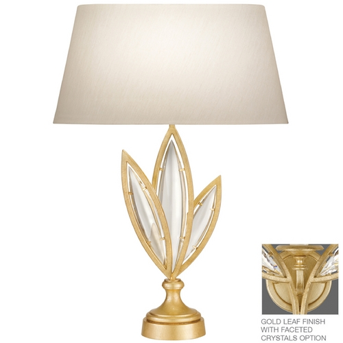 Fine Art Lamps Fine Art Lamps Marquise Florentine Brushed Gold Leaf Table Lamp with Oval Shade 854610-22ST