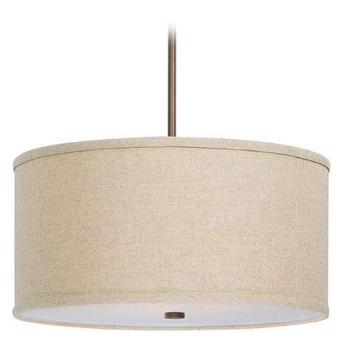 Capital Lighting Capital Lighting Burnished Bronze Pendant Light with Drum Shade 3910BB-456