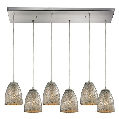 Elk Lighting Elk Lighting Fissure Satin Nickel Multi-Light Pendant with Bowl / Dome Shade 10465/6RC-SVF