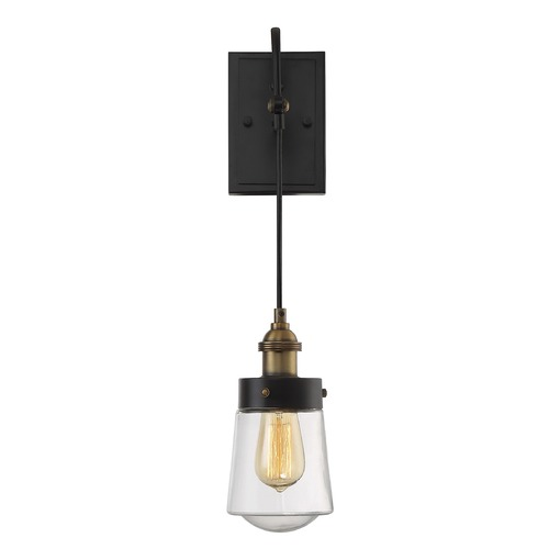 Savoy House Savoy House Lighting Macauley Vintage Black with Warm Brass Sconce 9-2065-1-51