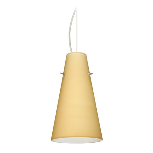 Besa Lighting Besa Lighting Cierro Satin Nickel LED Mini-Pendant Light with Conical Shade 1KX-4124VM-LED-SN