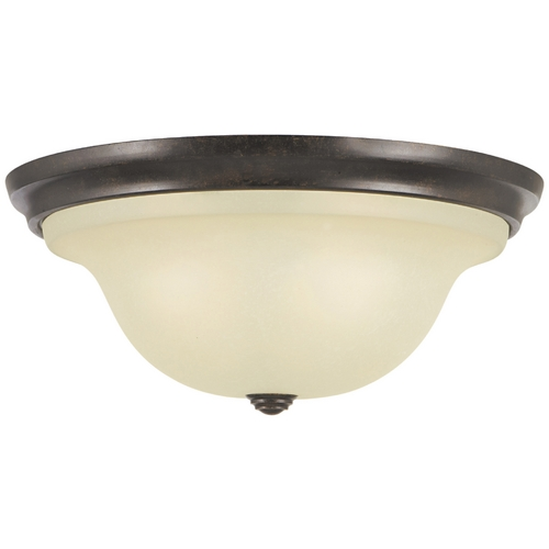 Home Solutions by Feiss Lighting Flushmount Light with Beige / Cream Glass in Grecian Bronze Finish FM252GBZ