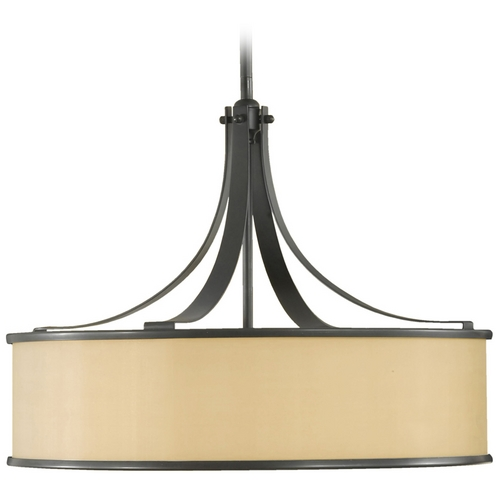 Feiss Lighting Drum Pendant Light with Brown Shade in Dark Bronze Finish F2343/4DBZ