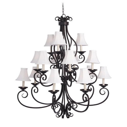 Maxim Lighting Chandelier with White Shades in Oil Rubbed Bronze Finish 12219OI/SHD123