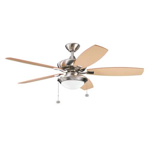 Kichler Lighting Kichler Ceiling Fan with Light in Brushed Stainless Steel Finish 300016BSS