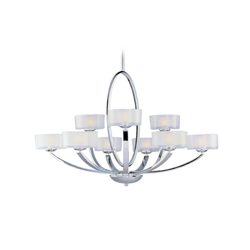 Maxim Lighting Modern Chandelier with White Glass in Polished Chrome Finish 19046FTPC