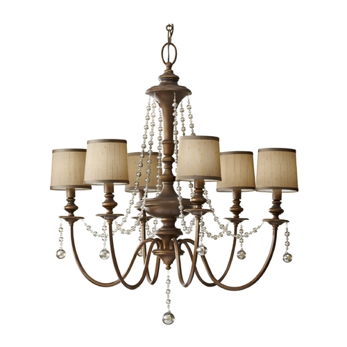 Feiss Lighting Crystal Chandelier with Brown Shades in Firenze Gold Finish F2722/6FG
