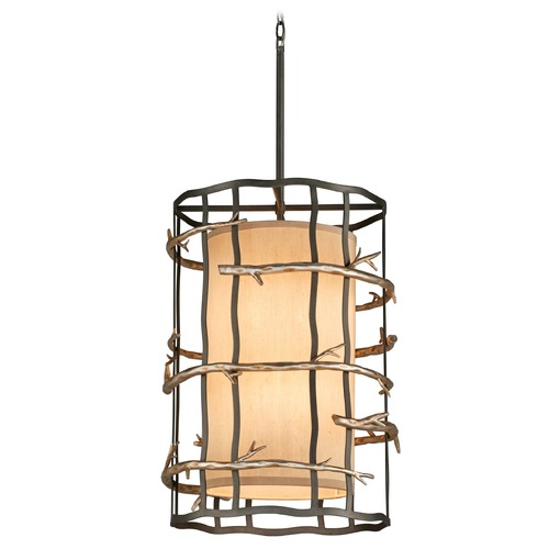 Troy Lighting Pendant Light with Beige / Cream Shades in Graphite and Silver Finish F2884