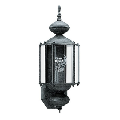 Sea Gull Lighting Outdoor Wall Light with Clear Glass in Black Finish 8510-12