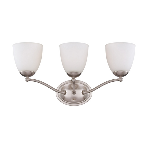 Nuvo Lighting Bathroom Light with White Glass in Brushed Nickel Finish 60/5033