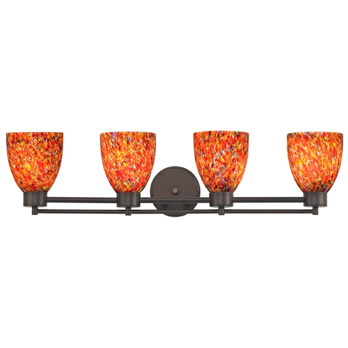 Design Classics Lighting Modern Bathroom Light with Art Glass - Four Lights 704-220 GL1012MB