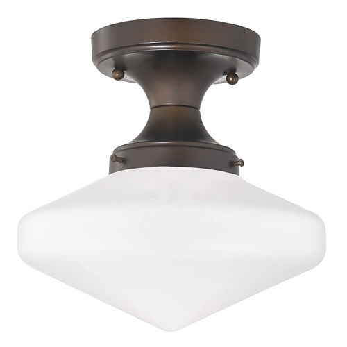 Design Classics Lighting 10-Inch Wide Bronze Schoolhouse Ceiling Light FDS-220 / GE10