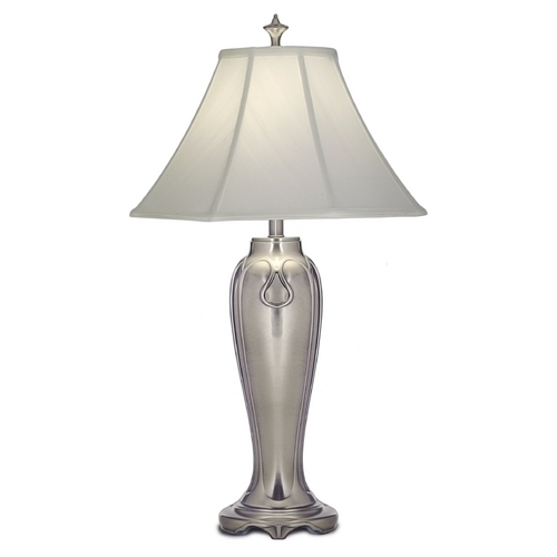 Stiffel Lighting Stiffel Table Lamp with White Shade in Antique Nickel Finish TL-N7346-AN