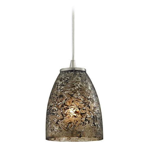 Elk Lighting Elk Lighting Fissure Satin Nickel Mini-Pendant Light with Bowl / Dome Shade 10465/1BRF