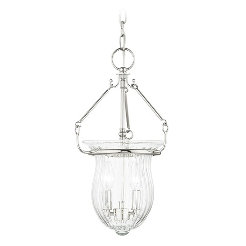 Livex Lighting Livex Lighting Andover Polished Nickel Mini-Pendant Light with Fluted Shade 50942-35