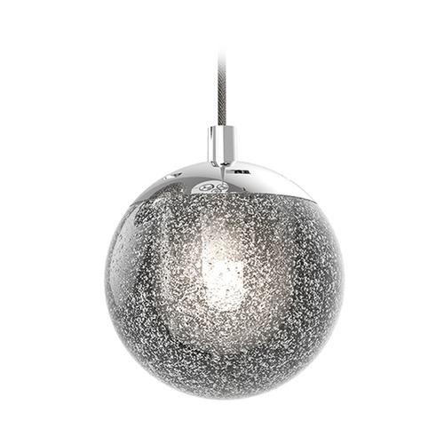 Seeded Glass Globe Led Mini Pendant Light Chrome Sonneman