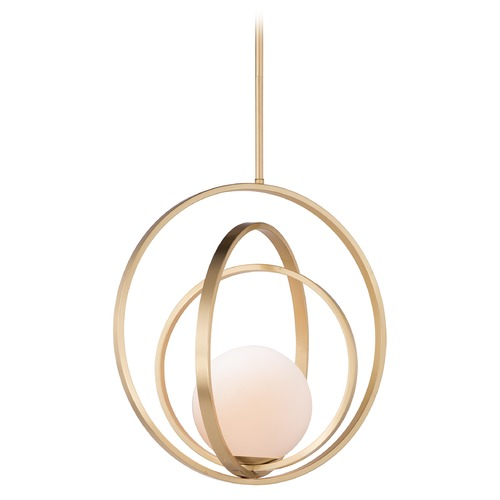 Maxim Lighting Maxim Lighting Coronet Satin Brass Pendant Light with Globe Shade 26054SWSBR