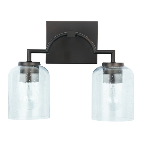 HomePlace by Capital Lighting HomePlace Carter Bronze 2-Light Bathroom Light with Clear Seeded Glass 139321BZ-500